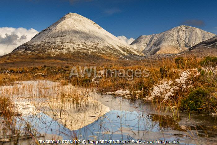 Moor landscape with snow-covered peaks of the Cullins Mountains in Highland Landscape, Sligachan, Portree, Isle of Skye, Scotland, United Kingdom, Europe