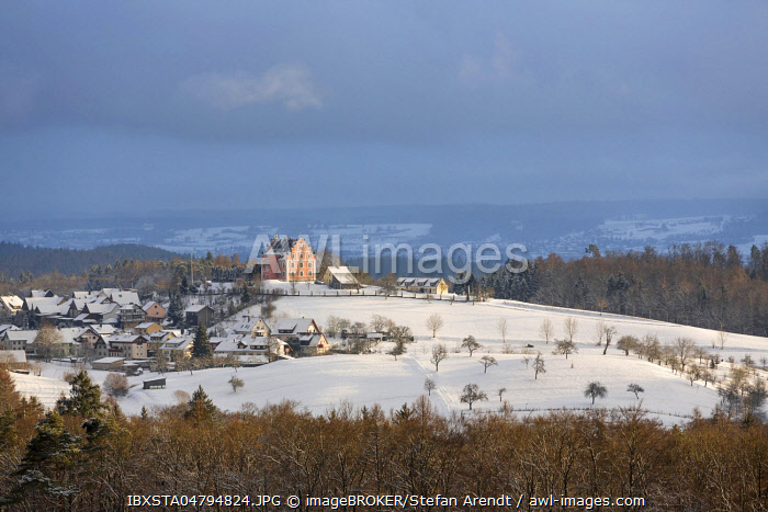 View of Freudental Castle in the snow, Langenrain, Allensbach, Baden-Württemberg, Germany, Europe
