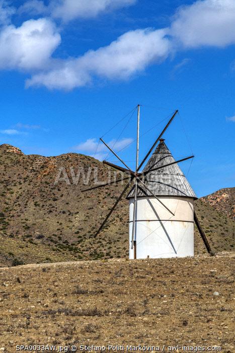 Windmill, Cabo de Gata, Almeria, Andalusia, Spain