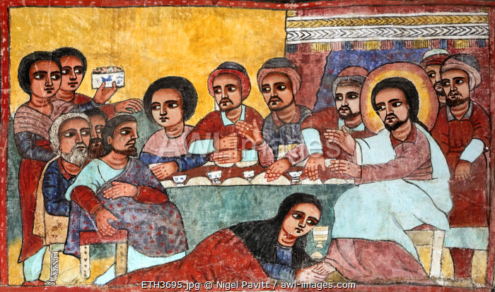 Ethiopia, Lake Tana, Dek Island, Amhara Region. A mural in the eighteenth century church at Narga Selassie monastery depicts the last supper with Mary Magdalene anointing Jesus's feet with perfume. A one-eyed Judas sits to the left.