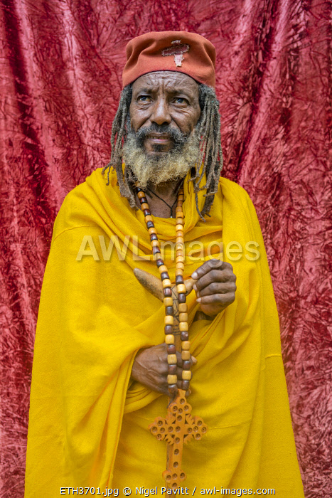 Ethiopia, Lake Tana, Amhara Region. A hermit who is attached to Betre Maryam monastery on the Zegie Peninsula of Lake Tana..