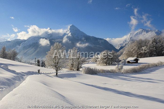 View of the Watzmann, Hochkalter on the right, Bischofswiesen National Park Berchtesgaden, Upper Bavaria, Bavaria, Germany