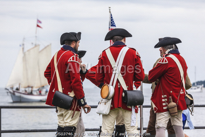 awl-images.com - USA / USA, New England, Massachusetts, Cape Ann, Gloucester, re-enactors of the Battle of Gloucester, August 8-9, 1775, battle convinced the Americans of the need of creating an American Navy to fight against the British