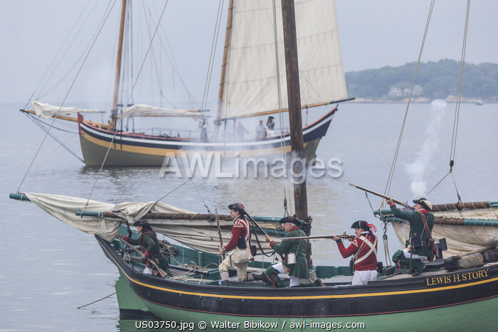 awl-images.com - USA / USA, New England, Massachusetts, Cape Ann, Gloucester, re-enactors of the Battle of Gloucester, August 8-9, 1775, battle convinced the Americans of the need of creating an American Navy to fight against the British, American Revolutionary War-era Naval Vessels, NR