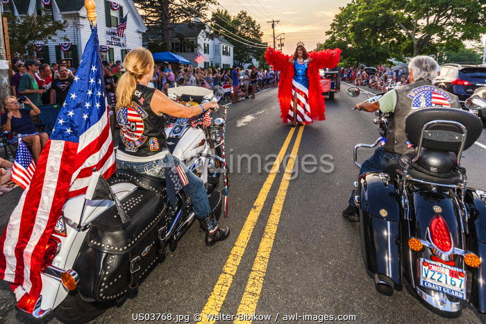 USA, New England, Massachusetts, Cape Ann, Gloucester, Gloucester Horribles Traditional Parade, July 3, motorcyclist with drag queen, NR