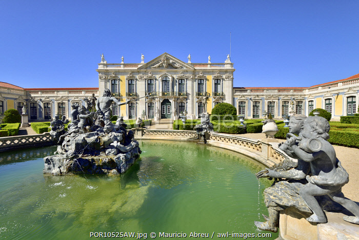 The Queluz National Palace (Palacio Nacional de Queluz), dating back to the 18th century, is a reference of rococo and neoclassical architecture in Portugal. Lisbon, Portugal
