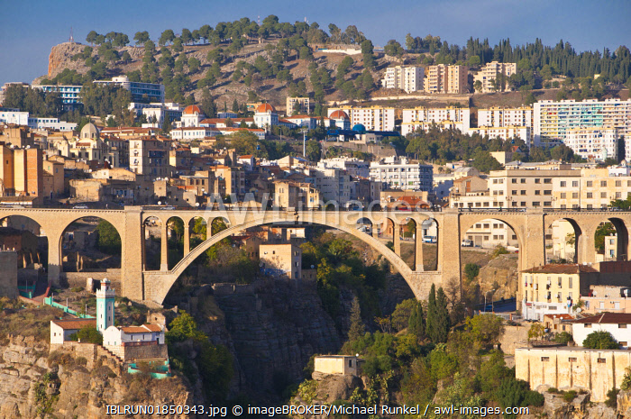 Pont Sidi M'Cid bridge with the Marabout of Sidi Rached, Constantine, Algeria, Africa