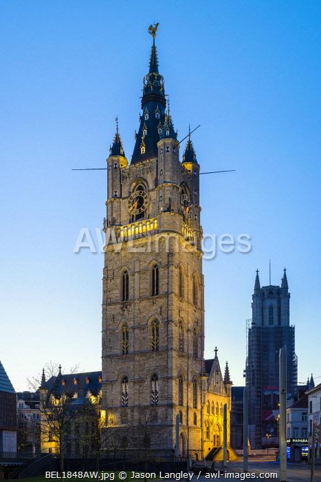 Belgium, Flanders, Ghent (Gent). Het Belfort von Gent, 14th centruy belfry, at dawn.