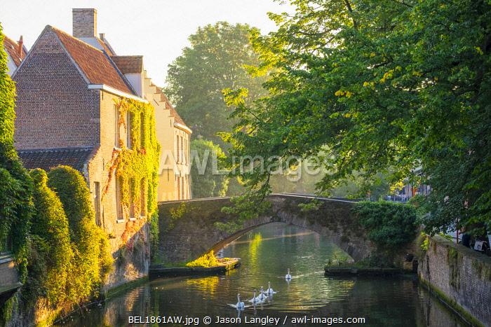 Belgium, West Flanders (Vlaanderen), Bruges (Brugge). Buildings along the Groenerei canal at dawn.