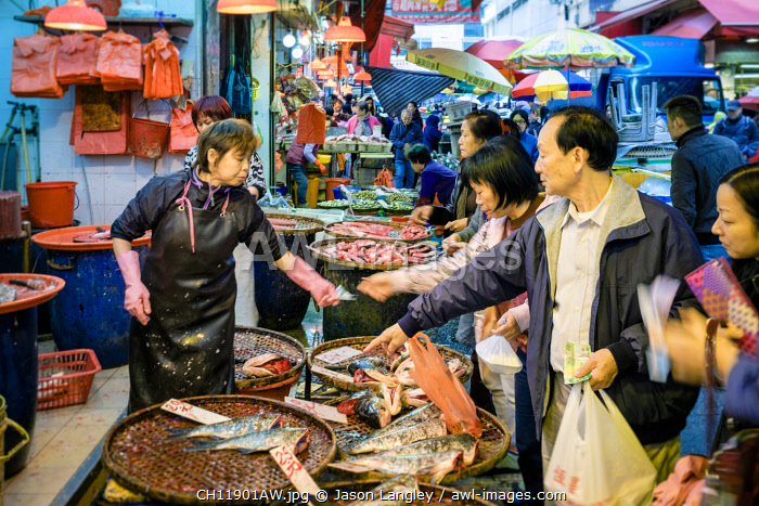 Woman selling fresh fish at a street market in Mong Kok, Kowloon, Hong Kong, China
