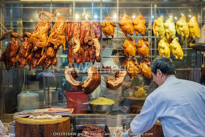 Roast ducks for sale at Bowrington Road Market, street market, Wan Chai, Hong Kong Island, Hong Kong, China