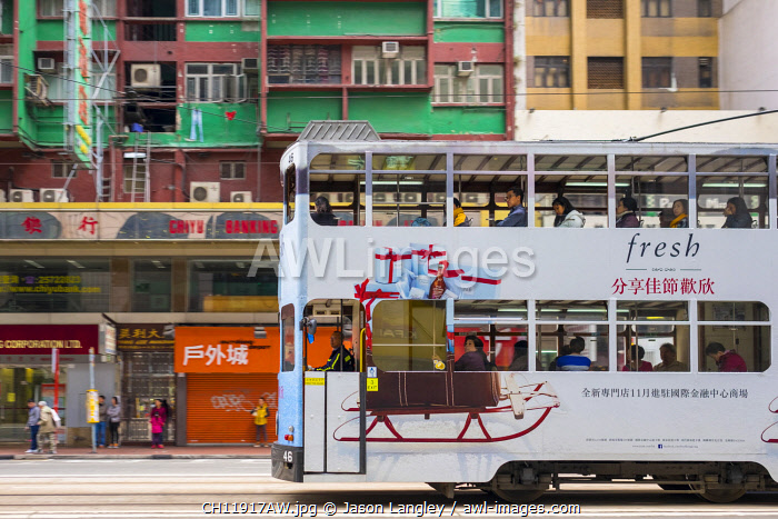 Double-Decker tram passing on Hennessy Road, Wan Chai, Hong Kong Island, Hong Kong, China