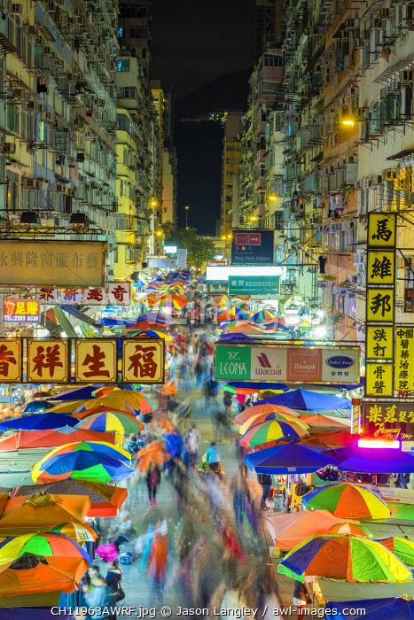 Fa Yuen street market at night, Mong Kok, Kowloon, Hong Kong, China