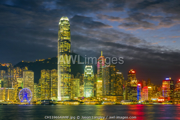 Hong Kong skyline, Skyscrapers on Hong Kong Island at night seen from Tsim Sha Tsui, Hong Kong Island, Hong Kong, China