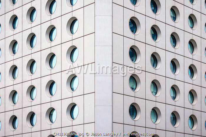 Circular windows, exterior of Jardine House, formerly known as Connaught Centre, Central District, Hong Kong Island, Hong Kong, China