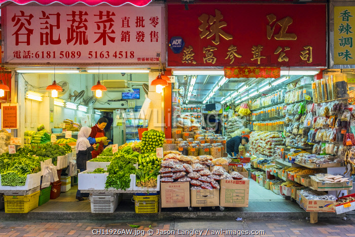 Chinese shops in Bowrington Road Market, Wan Chai, Hong Kong Island, Hong Kong, China