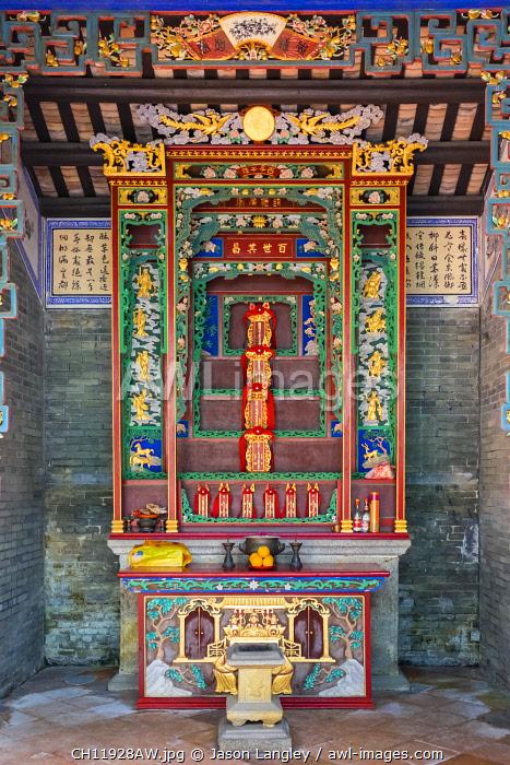 Altar at Kun Ting Study Hall, Ping Shan Heritage Trail, Yuen Long District, New Territories, Hong Kong, China
