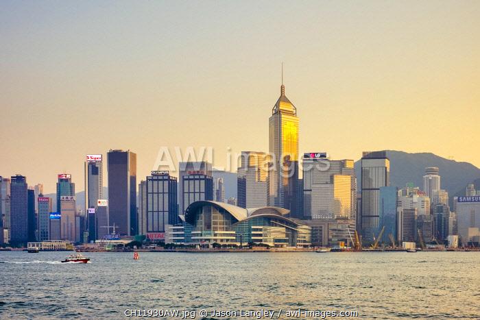 Wan Chai district and Hong Kong Convention and Exhibition Centre at sunset, Wan Chai, Hong Kong Island, Hong Kong, China