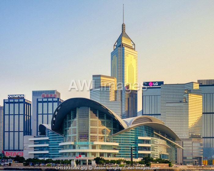 Wan Chai district and Hong Kong Convention and Exhibition Centre, Wan Chai, Hong Kong Island, Hong Kong, China