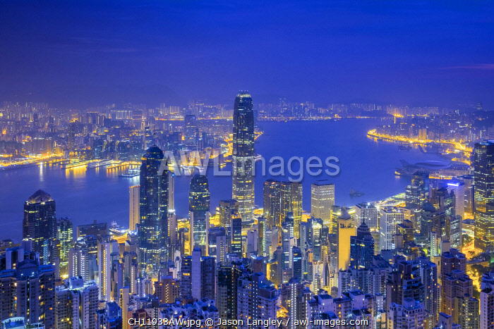 Skyscrapers in central Hong Kong seen from The Peak at dawn, Hong Kong Island, Hong Kong, China