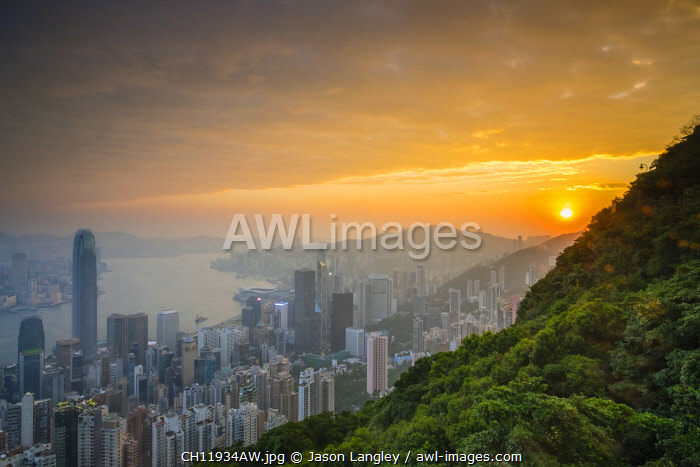 Skyscrapers in central Hong Kong seen from Victoria Peak at sunrise, Hong Kong Island, Hong Kong, China