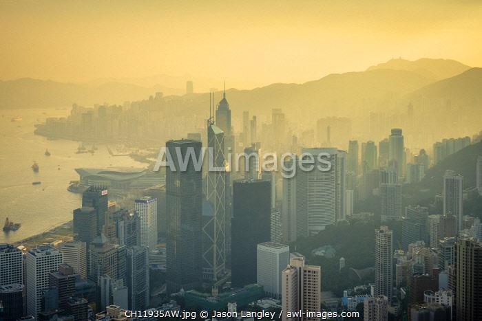 Skyscrapers in central Hong Kong, Admiralty and Mong Kok seen from The Peak at sunrise, Hong Kong Island, Hong Kong, China