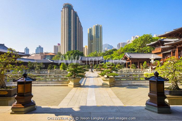 Chinese gardens at Chi Lin Nunnery, Wong Tai Sin district, Kowloon, Hong Kong, China