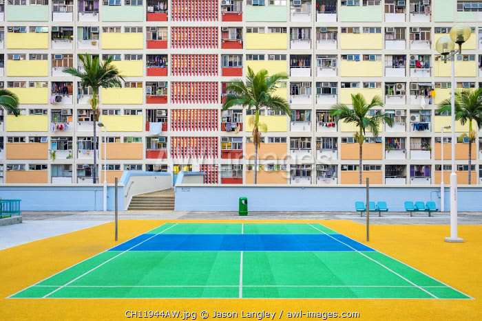 Empty tennis court at Choi Hung Estate, one of the oldest public housing estates in Hong Kong, Wong Tai Sin District, Kowloon, Hong Kong, China