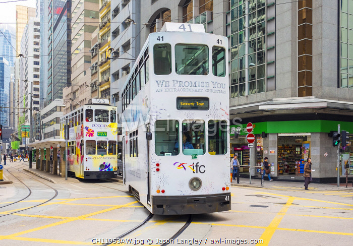 Doube-decker trams on Des Voeux Road in Central Hong Kong, Hong Kong Island, Hong Kong, China