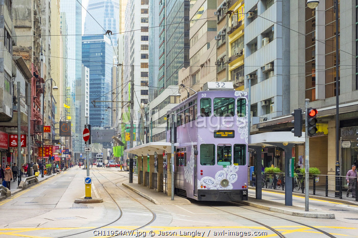 Doube-decker tram on Des Voeux Road in Central Hong Kong, Hong Kong Island, Hong Kong, China