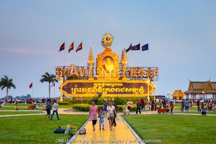 Illuminated billboard commemorating the 61st birthday of King Norodom Sihamoni, King of Cambodia, Phnom Penh, Cambodia