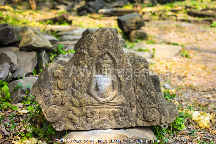 Stone carving at Banteay Chhmar, Ankorian-era temple ruins, Banteay Meanchey Province, Cambodia