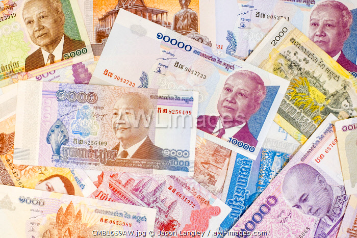 Cambodian Riel banknotes, various denominations Cambodian currency