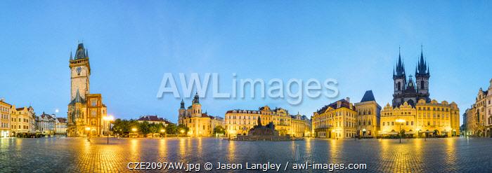 Czech Republic, Prague, Stare Mesto (Old Town). Staromestske namesti, Old Town Square at dawn, 360 degree panoramic view.
