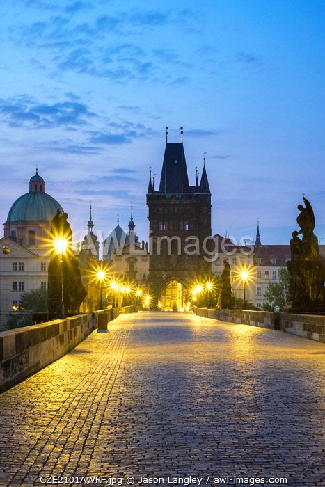 Czech Republic, Prague, Stare Mesto (Old Town). Charles Bridge at dawn.