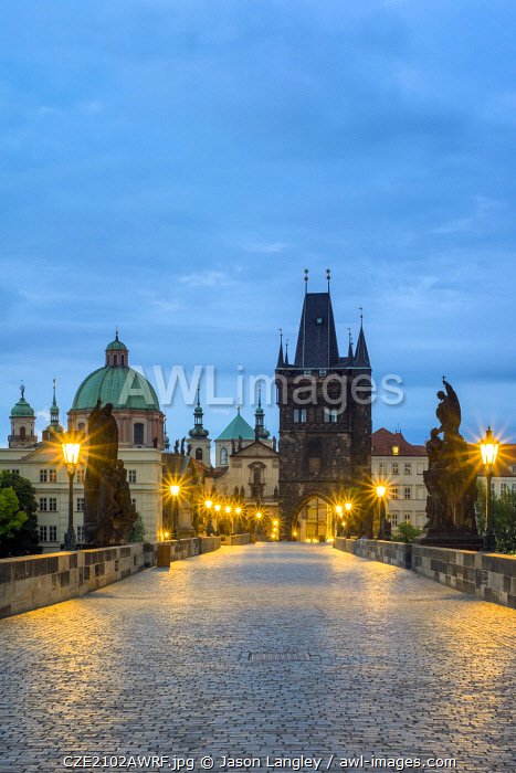 Czech Republic, Prague, Stare Mesto (Old Town). Charles Bridge at dawn.