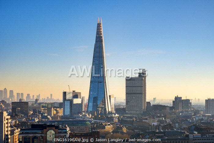 United Kingdom, England, London. The Shard skyscraper in the London Borough of Southwark, designed by architect Renzo Piano.
