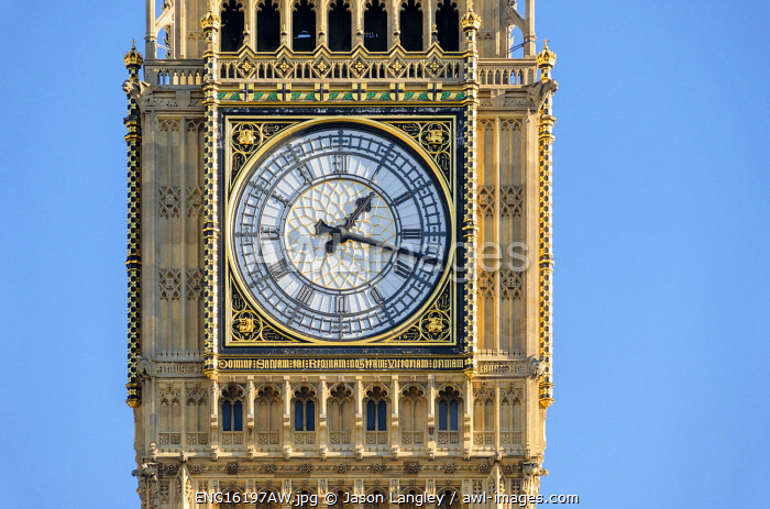 United Kingdom, England, London. Clock face of Big Ben (Elizabeth Tower), which stands at the north end of the Palace of Westminster.