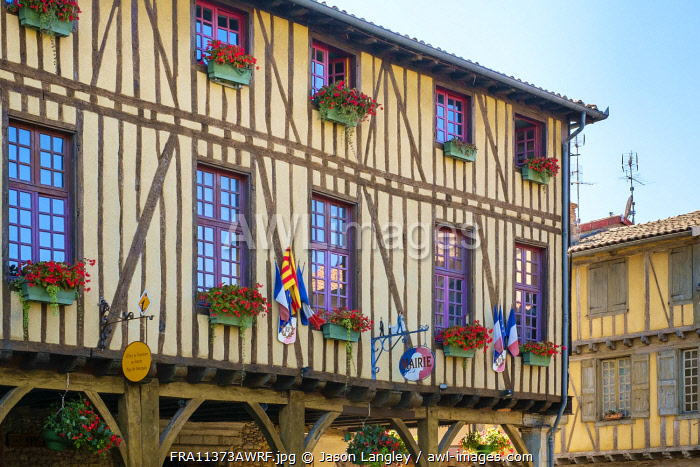Mirepoix town hall (Mairie) half-timbered building on Place de Couverts in bastide town of Mirepoix, Ariège, Midi-Pyrénées, France.