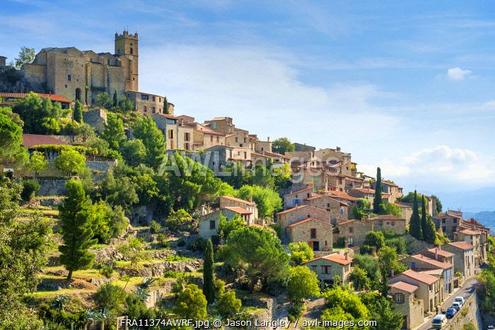 Hilltop town of Eus, Pyrénées-Orientales, Languedoc-Roussillon, France.