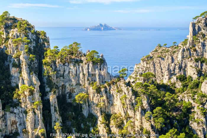 Ile Riou seen from Calanque d'En-Vau, Parc National des Calanques, Bouches-du-Rhône, Provence-Alpes-Côte d'Azur, France.