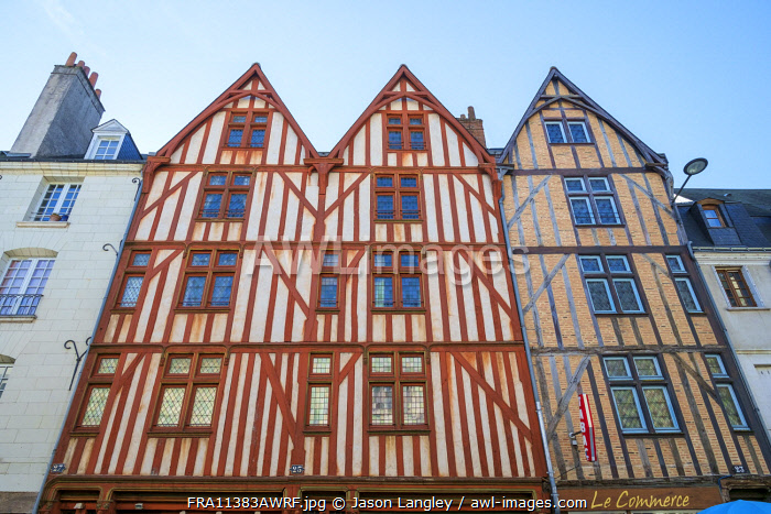 Old wooden half-timbered houses, Tours, Indre-et-Loire, Centre, France.