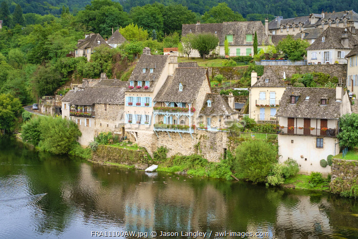 French town of Argentat on the Dordogne River, Corrèze department, Limousin, France.
