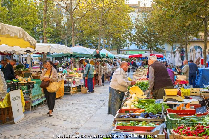 Morning farmer's market on Place Carnot, Ville Basse, Carcassonne, Aude Department, Languedoc-Roussillon, France.