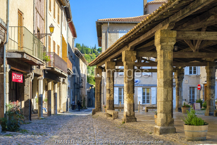 Covered market hall on main square of Lagrasse, Aude Department, Languedoc-Roussillon, France.