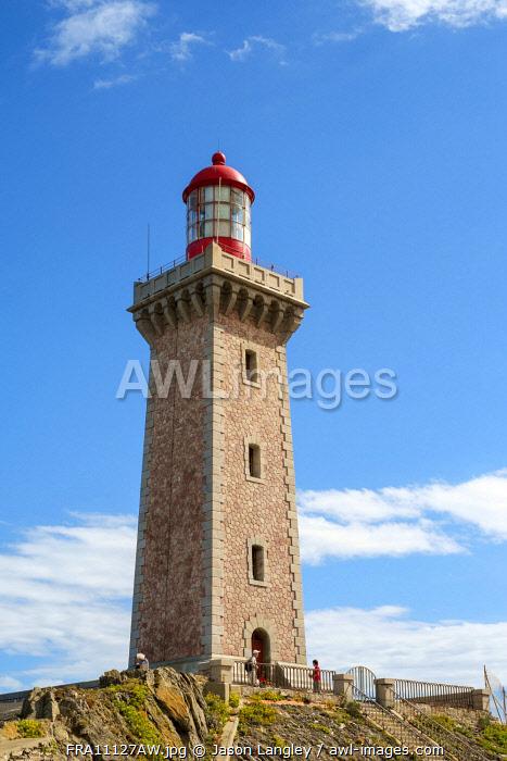 Lighthouse at Cap Bear, Port-Vendres, Pyrénées-Orientales, Languedoc-Roussillon, France.
