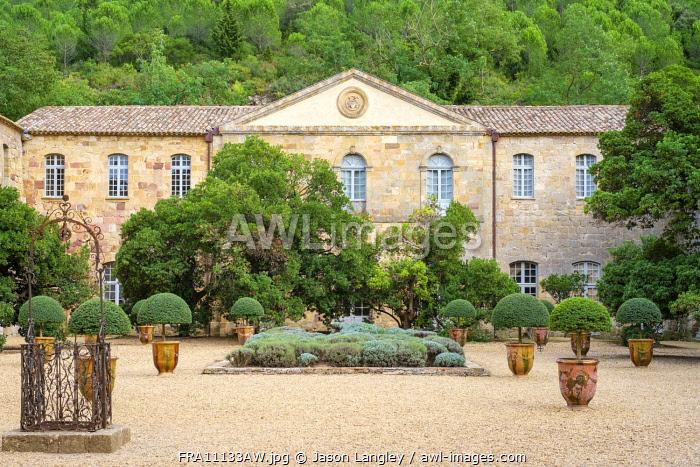 Cour Louis XIV at Abbaye de Fontfroide, Aude Department, Languedoc-Roussillon, France.