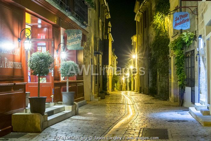 Rue de la Grande Bourgade at night, Uzès, Gard Department, Languedoc-Roussillon, France.