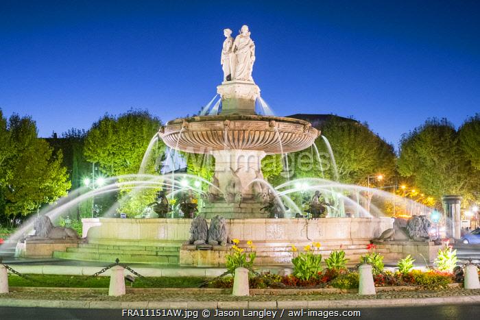 Fountain of La Rotonde on Place du General de Gaule, Aix-en-Provence, Bouches-du-Rhône, Provence-Alpes-Côte d'Azur, France.