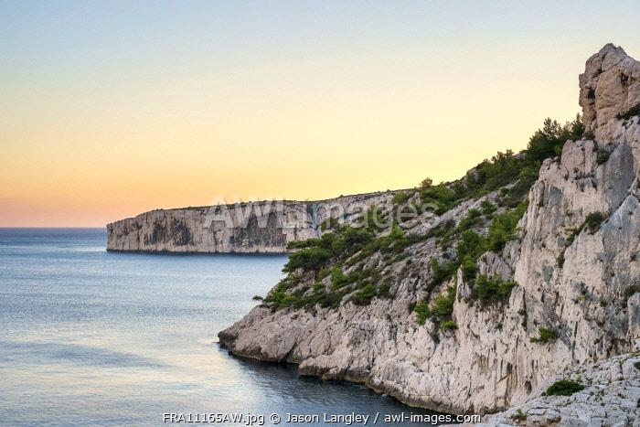 Calanque de Sugiton at sunset, Parc National des Calanques, Bouches-du-Rhône, Provence-Alpes-Côte d'Azur, France